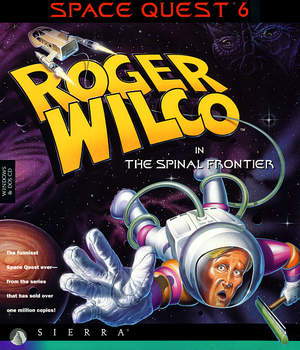 Cover for Space Quest 6: Roger Wilco in The Spinal Frontier.