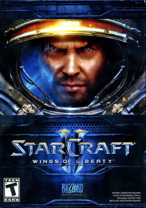 Cover for StarCraft II: Wings of Liberty.