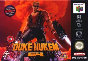 Cover for Duke Nukem 64.