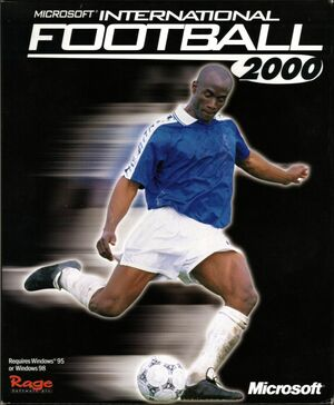 Cover for Microsoft International Soccer 2000.