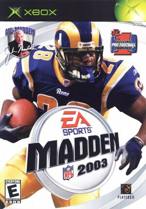 Cover for Madden NFL 2003.