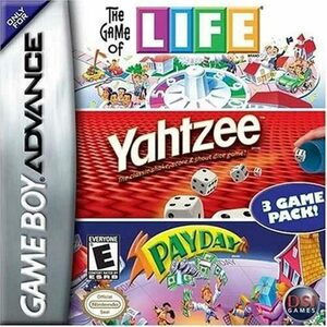Cover for The Game of Life/Yahtzee/Payday.