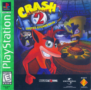 Cover for Crash Bandicoot 2: Cortex Strikes Back.
