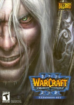 Cover for Warcraft III: The Frozen Throne.